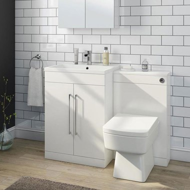 Aspire 600mm 2 Door Vanity Unit & Basin and Toilet Pack - Gloss White