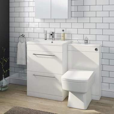 Aspire 600mm 2 Drawer Vanity Unit & Basin and Toilet Pack - Gloss White