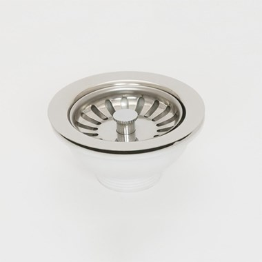 Chrome Basket Strainer Kitchen Sink Waste, Overflow Pipework & Chrome Overflow Cover