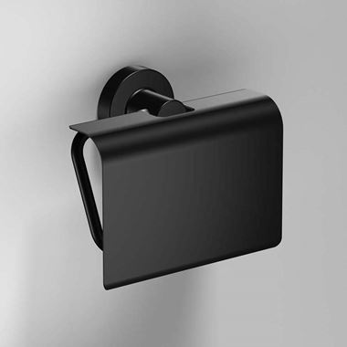Sonia Tecno Project Black Toilet Roll Holder With Flap
