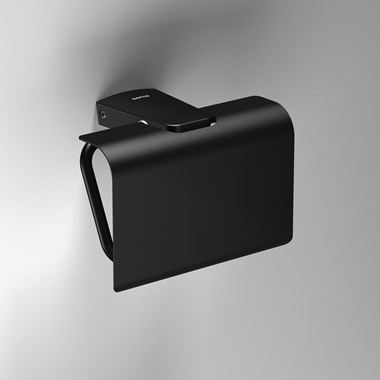 Sonia S6 Black Toilet Roll Holder with Flap