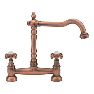 Tre Mercati French Classic Traditional Bridge Sink Mixer - Old Copper
