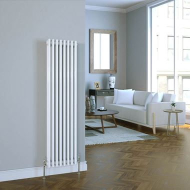 Brenton Vertical Designer Column Style White Radiator - 1500 x 380mm - 2 or 3 Column