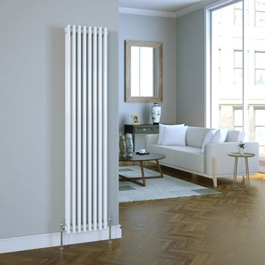 Brenton Vertical Designer Column Style White Radiator - 1800 x 380mm - 2 or 3 Column