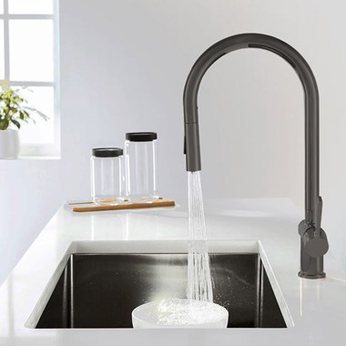 Just Taps Single Lever Mono Pull Out Kitchen Mixer - Brushed Gunmetal Grey