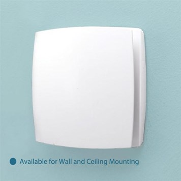 HIB Breeze White Wall Mounted Slimline Lowprofile Fan with Timer & Humidity Sensor