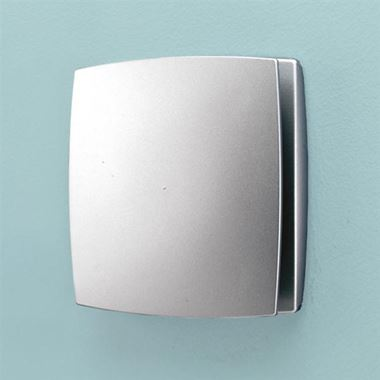 HIB Breeze Matt Silver Wall or Ceiling Mounted Slimline Low Profile Fan with Timer
