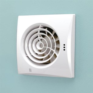 HIB Hush White Slimline Lowprofile Wall or Ceiling Mounted Fan with Timer & Humidity Sensor