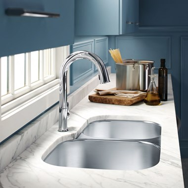 Kohler Icerock 1.75 Bowl Brushed Stainless Steel Undermount Sink with Right Hand Half Bowl - 892 x 511mm