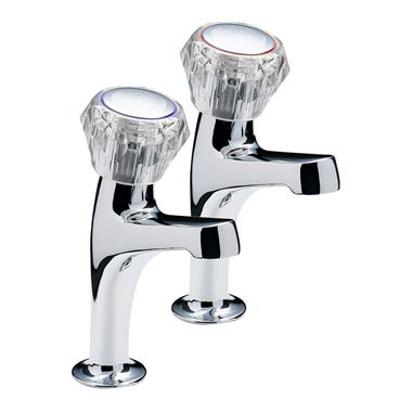 Special Economy Pair Of High Neck Pillar Taps, Clear Heads, Chrome Plated