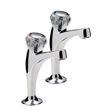 Capri Pair Of High Neck Pillar Taps, Clear Heads , Chrome Plated