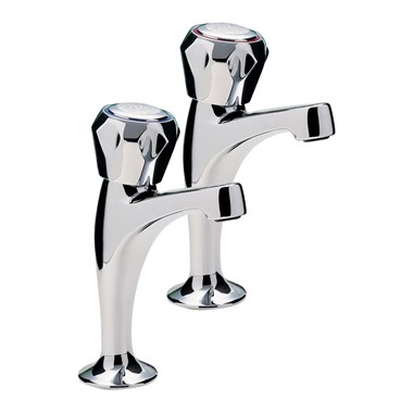 Capri Pair Of High Neck Pillar Taps, Mazak Heads , Chrome Plated
