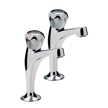 Capri Pair Of High Neck Pillar Taps, Brass Italy Heads , Chrome Plated