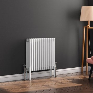 Butler & Rose Horizontal Designer 4 Column Style White Radiator - 500 x 605mm