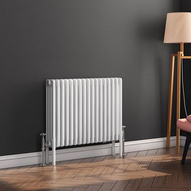 Butler & Rose Horizontal Designer 4 Column Style White Radiator - 600 x 785mm