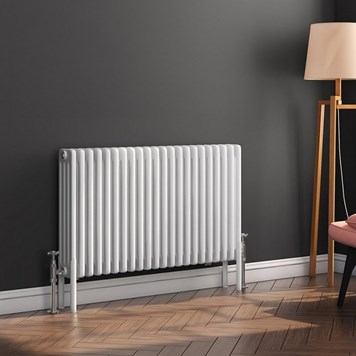Butler & Rose Horizontal Designer 4 Column Style White Radiator - 600 x 1010mm