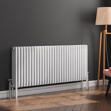 Butler & Rose Horizontal Designer 4 Column Style White Radiator - 600 x 1370mm