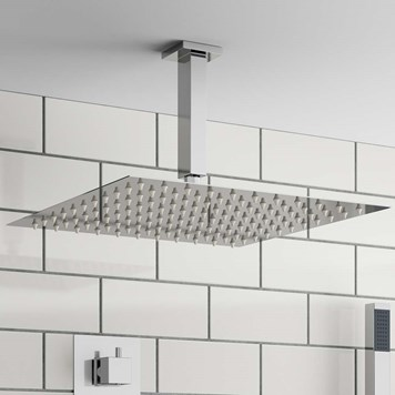 Vellamo Thin Square Fixed Shower Head - 400mm