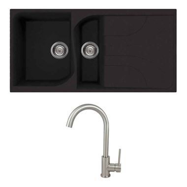 Reginox Ego 1.5 Bowl Black Composite Kitchen Sink & Vellamo Revolve Monobloc Mixer Tap