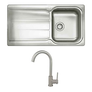 Rangemaster Glendale Single Bowl Stainless Steel Kitchen Sink & Vellamo Revolve Monobloc Mixer Tap