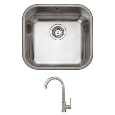 Rangemaster Atlantic Classic Single Bowl Undermount Stainless Steel Sink & Vellamo Revolve Monobloc Kitchen Mixer Tap