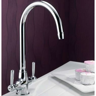 Francis Pegler Rune Twin Metal Lever Mono Sink Mixer With Swivel Spout