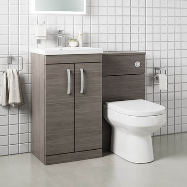 Drench Emily 1000mm Combination Bathroom Toilet & 2 Door Sink Unit - Grey Avola