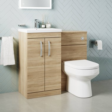 Drench Emily 1000mm Combination Bathroom Toilet & 2 Door Sink Unit - Natural Oak