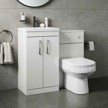 Drench Emily 1000mm Combination Bathroom Toilet & 2 Door Sink Unit - Gloss White