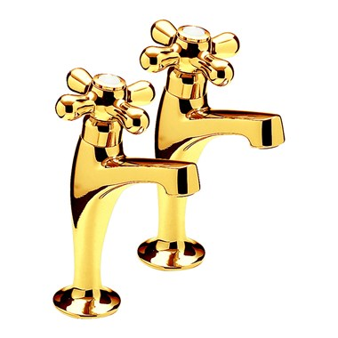 Series 900 Crosshead Pair Of High Neck Pillar Taps, Antique Gold Plated