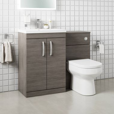 Drench Emily 1100mm Combination Bathroom Toilet & 2 Door Sink Unit - Grey Avola