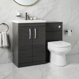 Drench Emily 1100mm Combination Bathroom Toilet & 2 Door Sink Unit - Hacienda Black