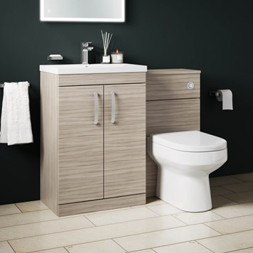 Drench Emily 1100mm Combination Bathroom Toilet & 2 Door Sink Unit - Driftwood