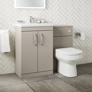 Drench Emily 1100mm Combination Bathroom Toilet & 2 Door Sink Unit - Matt Stone Grey