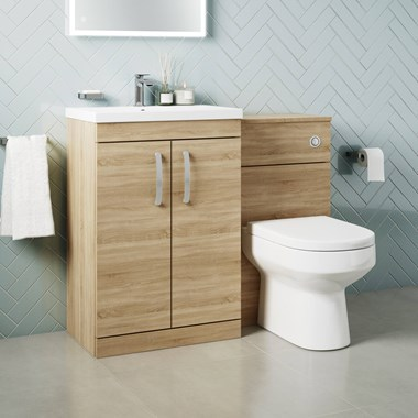 Drench Emily 1100mm Combination Bathroom Toilet & 2 Door Sink Unit - Natural Oak