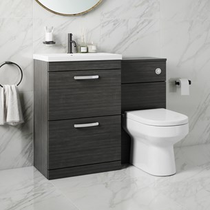 Drench Emily 1100mm Combination Bathroom Toilet & 2 Drawer Sink Unit - Hacienda Black