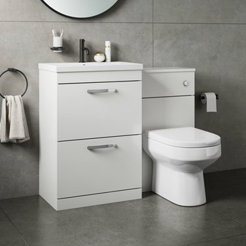 Drench Emily 1100mm Combination Bathroom Toilet & 2 Drawer Sink Unit - Gloss White
