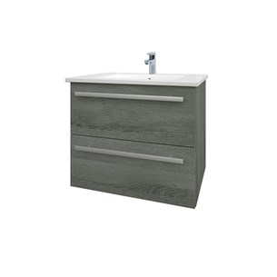 Drench Gregory 600mm Wall Mounted 2 Drawer Vanity Unit & Ceramic Basin - Grey Ash