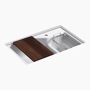 Kohler Indio 1.5 Bowl Undermount Cast Iron Sink with Single Tap Hole, Smart Divide & Accessories - 838 x 537mm