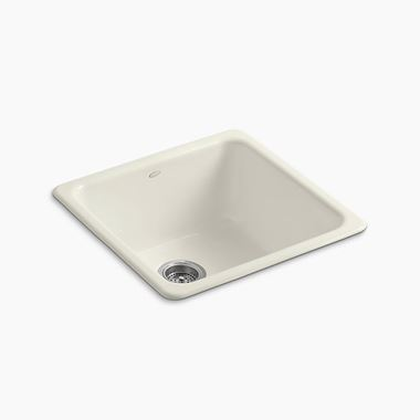 Kohler Iron/Tones Single Bowl Inset or Undermount Biscuit Cast Iron Sink - 530 x 530mm
