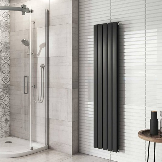 Brenton Flat Double Panel Vertical Radiator - 1600mm x 340mm - Anthracite
