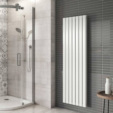 Brenton Flat Double Panel Vertical Radiator - 1600mm x 475mm - White