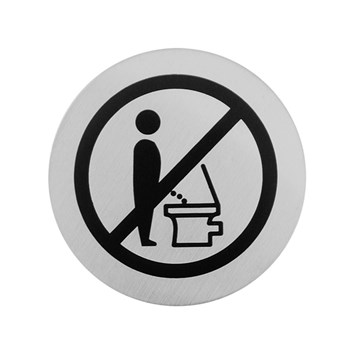 Urban Steel Brushed Stainless Steel Do Not Pee Sign - Round