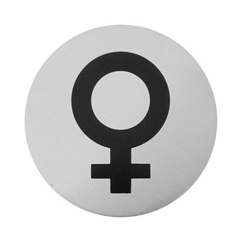 Urban Steel Brushed Stainless Steel Female Symbol Sign - Round