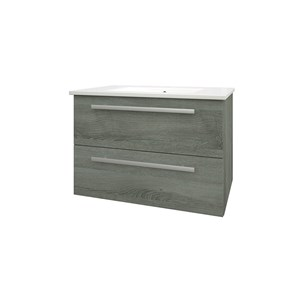 Drench Gregory 750mm Wall Mounted 2 Drawer Vanity Unit & Ceramic Basin - Grey Ash