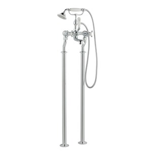 Butler & Rose Caledonia Crosshead Floorstanding Bath Shower Mixer with Shower Kit - Chrome