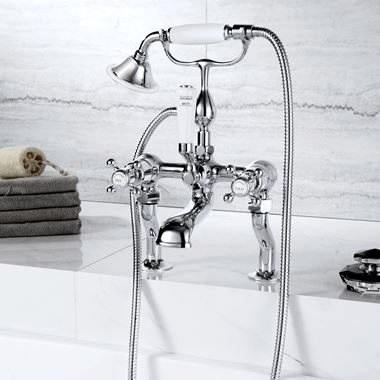 Butler & Rose Caledonia Cross Deck Mounted Bath Mixer with Shower Handset