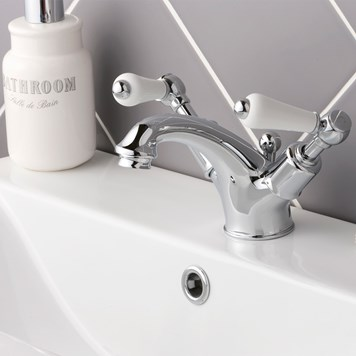 Butler & Rose Caledonia Lever Mono Basin Mixer with Pop-up Waste - Chrome