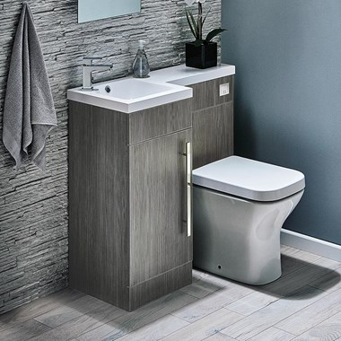 Structure Compact 900mm Furniture Suite inc. Vanity & Basin, Toilet & Seat and Concealed Cistern - Avola Grey