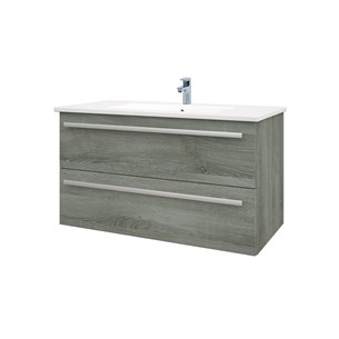 Drench Gregory 900mm Wall Mounted 2 Drawer Vanity Unit & Ceramic Basin - Grey Ash